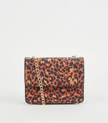 Orange Leopard Print Mini Shoulder Bag