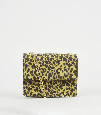 Yellow Leopard Print Mini Shoulder Bag