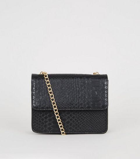 d7c3677d1d1 ... Black Faux Croc Mini Shoulder Bag ...