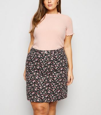 Curves Black Floral Mom Denim Skirt