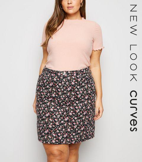 86523381e3 ... Curves Black Floral Mom Denim Skirt ...