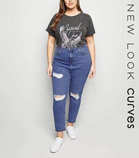 95759699bd5 ... Curves Blue Ripped Slim Mom Jeans ...