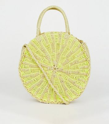 Yellow Neon Straw Effect Round Bag