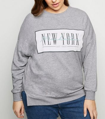 Curves Grey New York Slogan Sweatshirt