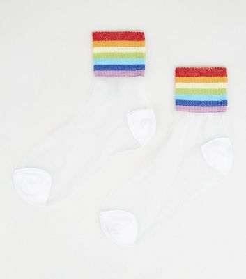 Rainbow Glitter Sheer Socks