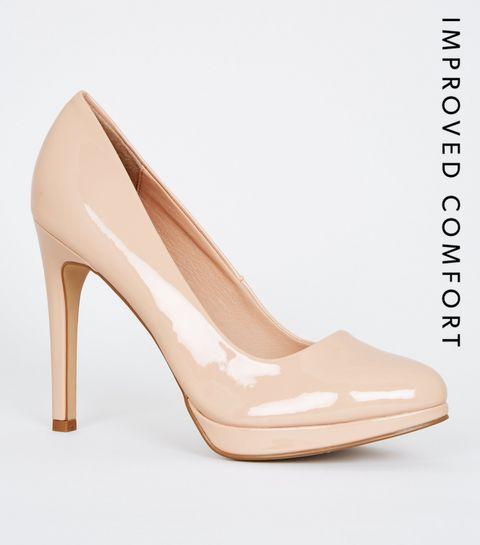 eeaa3ef17186 ... Nude Patent Platform Stiletto Court Shoes ...