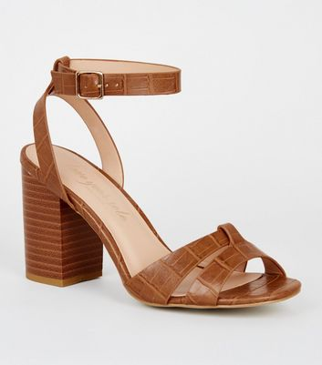 Tan Faux Croc 2 Part Block Heels
