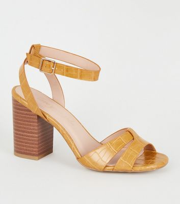 Yellow Faux Croc 2 Part Block Heels