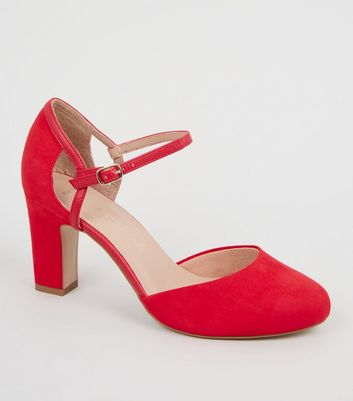 Wide Fit Red Suedette 2 Part Court Shoes