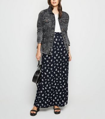 Black Ditsy Floral Side Split Maxi Skirt