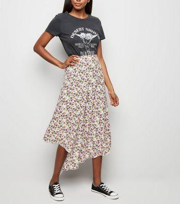 cfc63f457a0 ... White Floral Hanky Hem Midi Skirt