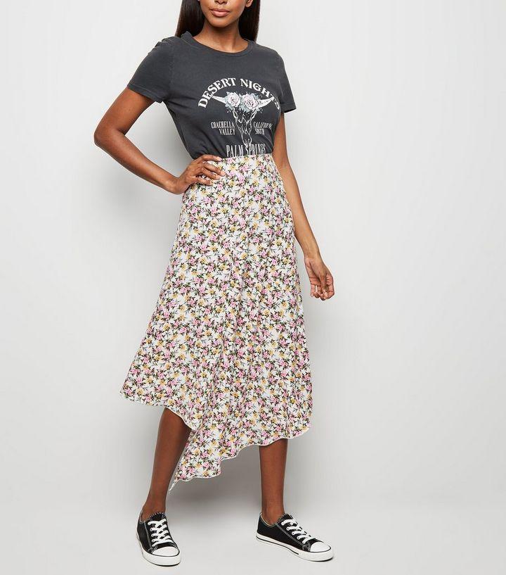3581f1fc69 White Floral Hanky Hem Midi Skirt   New Look