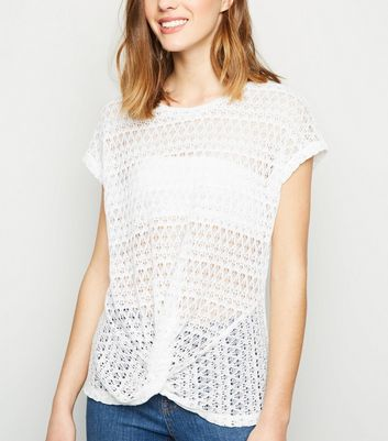 White Twist Front Pointelle Knit Top