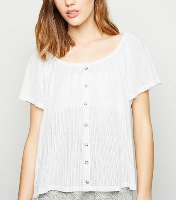 White Button Front Mesh Off Shoulder Top