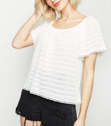 White Fine Knit Off Shoulder Top