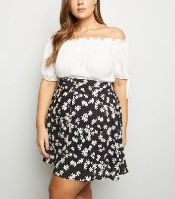 Curves Black Floral Button Front Mini Skirt