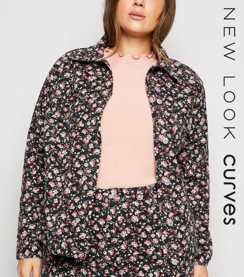 0fce7318db719 ... Curves - Veste noire en jean courte à fleurs ...
