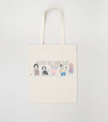 Cream Sloth Up Your Life Slogan Canvas Bag