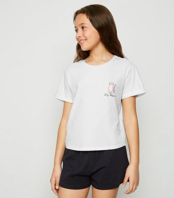 Girls White Stay PAWsitive Slogan Pyjama Set