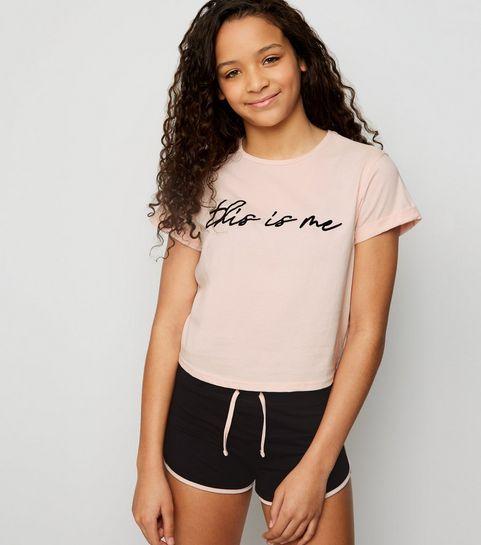 ... Girls Pink This Is Me Slogan Pyjama Set ... 7de2bbeaa