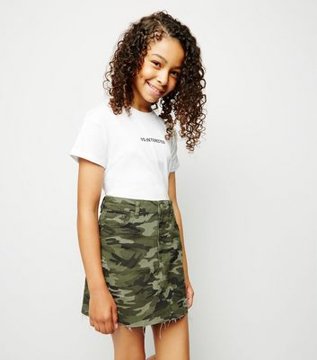 Girls Green Camo Ripped Denim Skirt