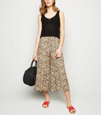 Brown Animal Print Cropped Trousers