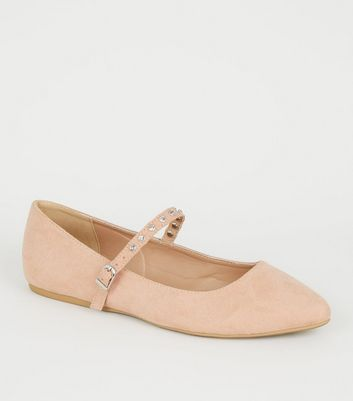 Wide Fit Nude Diamanté Strap Ballet Pumps