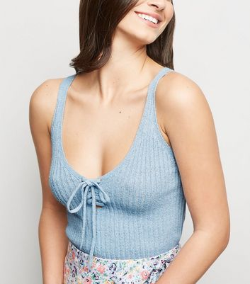 Pale Blue Ribbed Knit Lace Up Vest