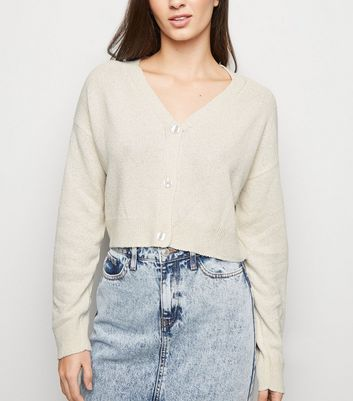 Cream Cropped Fine Knit Cardigan