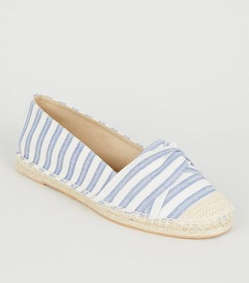 Wide Fit Blue Stripe Twist Espadrilles
