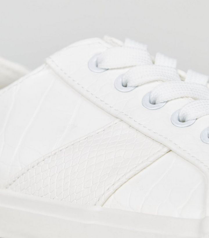 645ecd5ffd6 Wide Fit White Faux Croc Lace Up Trainers Add to Saved Items Remove from  Saved Items