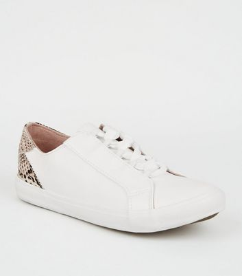 Wide Fit White Faux Snake Heel Trainers
