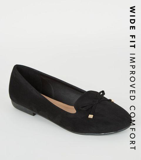 b59390951 ... Wide Fit Black Suedette Bow Ballet Pumps ...