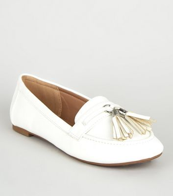 Wide Fit White Tassel Trim Loafers