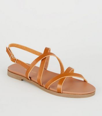 Wide Fit Tan Strappy Footbed Sandals