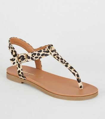 Wide Fit Stone Leopard Print Flat Sandals