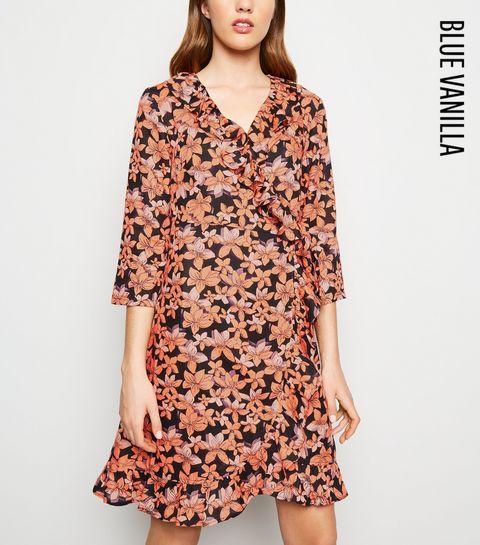 da1fd20fa81f69 ... Blue Vanilla Orange Floral Frill Wrap Dress ...