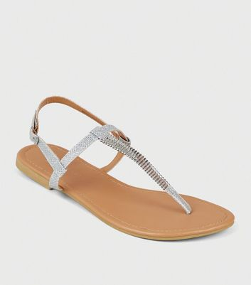 Wide Fit Silver Glitter Bar Strap Sandals