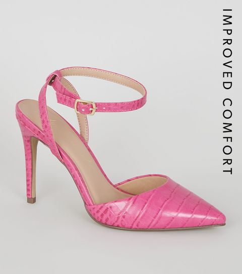 52064d39ce ... Bright Pink Faux Croc 2 Part Courts ...