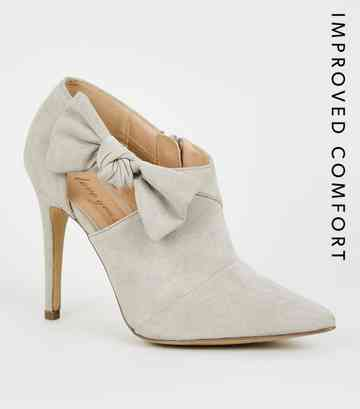 Grey Suedette Bow Side Shoe Boots