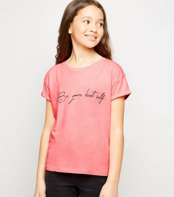 Girls Bright Pink Be Your Best Self Slogan T-Shirt