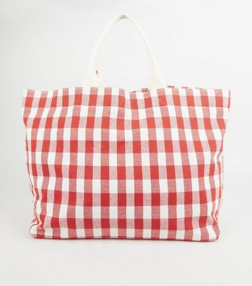 Red Check Canvas Tote Bag