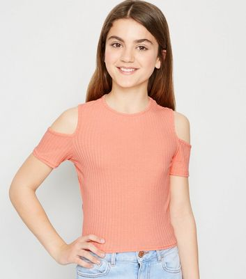 Girls Coral Ribbed Cold Shoulder Top