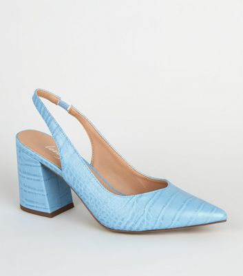 Pale Blue Faux Croc Pointed Slingback Heels