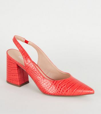 Red Faux Croc Pointed Slingback Heels
