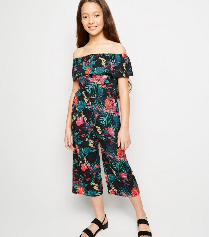 5856f133c7d Girls Black Tropical Floral Bardot Jumpsuit