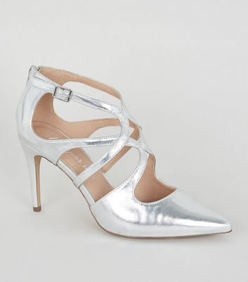 Silver Metallic Strappy Pointed Courts