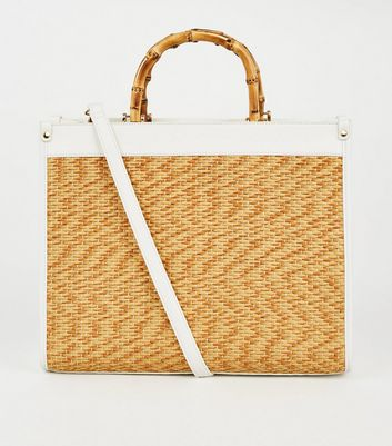 White Woven Bamboo Handle Tote Bag
