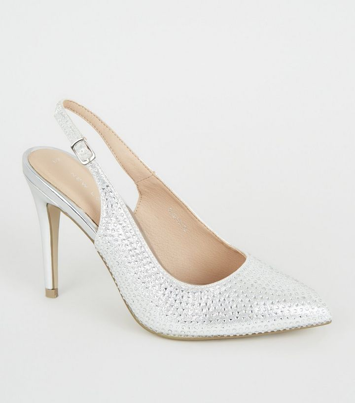 d2eeb827c6 Silver Diamanté Pointed Slingback Stiletto Heels | New Look