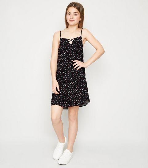 588577d336d ... Girls Black Floral Tiered Hem Dress ...